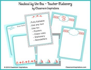 Teacher Stationery - Editable - Coordinates with Nautical