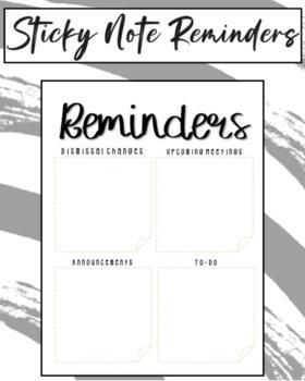 Teacher Sticky Note Reminders