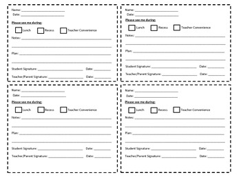 Teacher-Student Conference Cards
