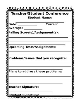 Teacher/Student Conference Form