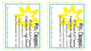 Teacher & Student Info Cards