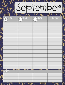 Teacher/Student Planner Pages **Anchors**