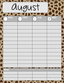 Teacher/Student Planner Pages **Giraffe**