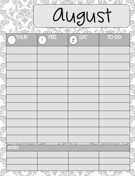 Teacher/Student Planner Pages **Grey Damask**