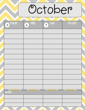 Teacher/Student Planner Pages **Yellow and Grey Chevron**