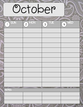 Teacher/Student Planner Pages **Grey Paisley**