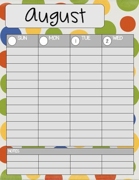 Teacher/Student Planner Pages **Primary Dots**