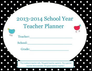 Teacher - Student Planner - Weekly & Monthly - Black White