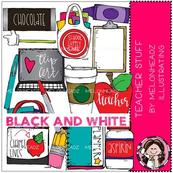 Teacher Stuff clip art - BLACK AND WHITE - by Melonheadz
