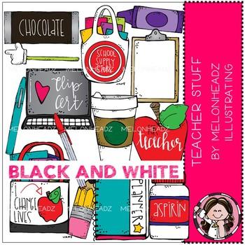 Teacher Stuff clip art - BLACK AND WHITE - Melonheadz Clipart