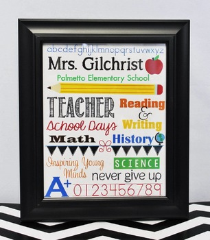 Teacher Subway Art - Embedded Fonts To Add Your Own Name and School Name!