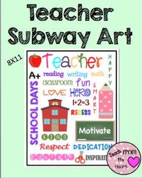 Teacher Subway Art FREEBIE