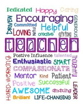 Teacher Subway Art - Teacher Appreciation