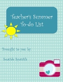 Teacher Summer To-Do List