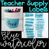 Teacher Supply Labels: Blue Watercolor
