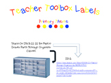 Teacher Supply Toolbox Labels - Primary Colors in 5 fonts