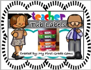 Free Teacher Tub Labels