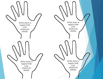 Teacher Supply Wish List Display HELPING HANDS