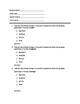 Teacher Survey for After School Program