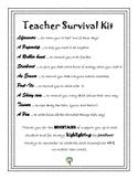 Teacher Survival Kit Letter