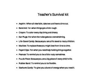 Teacher Survival Kit Poster