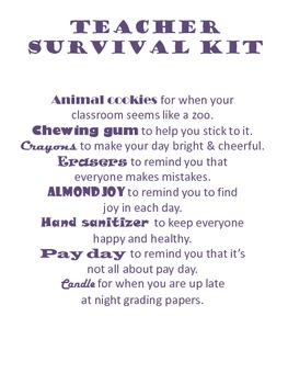 Teacher Survival Kit Printable by Allison Mercier | TpT