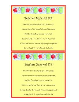 Teacher Survival Kit- end of year, teacher appreciation