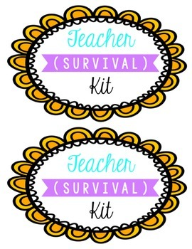 Teacher Survival Kit labels