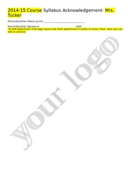 Teacher Syllabus Acknowledgement Form