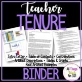 Teacher TENURE Binder! 50+ EDITABLE Documents + Spreadsheets + PDFs