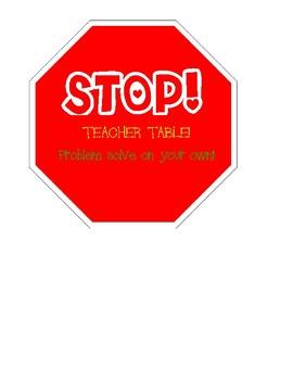 Teacher Table Stop Sign