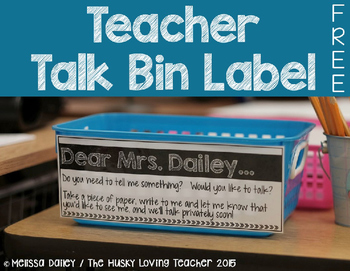 Teacher Talk Bin {Label}