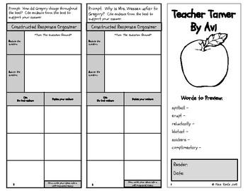 Teacher Tamer by Avi Short Story Comprehension Trifold CCSS