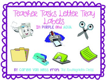 Classroom Organization Labels in Purple and Aqua