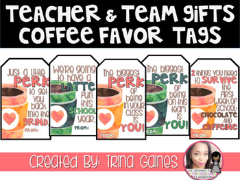 Teacher & Team Gifts Coffee Favor Tags