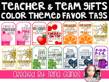 Teacher & Team Gifts Color Themed Favor Tags