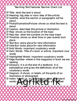 Teacher Text Feature Checklist