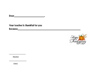Teacher Thankful Thanksgiving certificate to their students