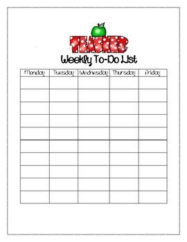 Teacher Themed Weekly To-Do List