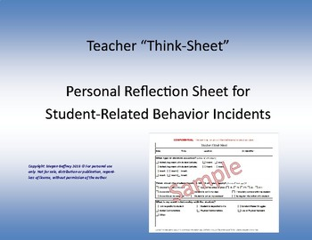Teacher Think Sheet- Reflection of Behavior Incident