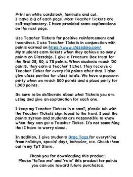 Teacher Tickets