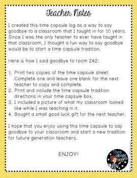 Teacher Time Capsule FREE