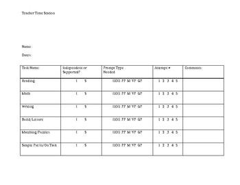 Teacher Time Data Sheet