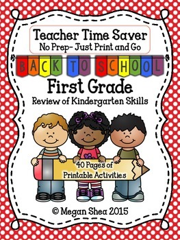 Teacher Time Saver: Back To School No Prep Activities for First Grade