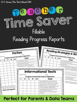 I Can: Fillable, Standards-Based Progress Reports for Reading