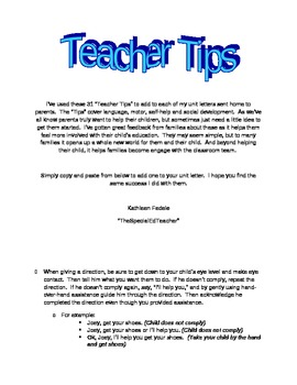 Teacher Tips - Use in Your Unit Letters For Parents - PreK, Special Ed