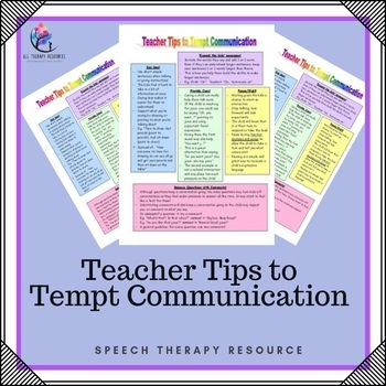 Teacher Tips to Tempt Commmunication - 1 Page Handout