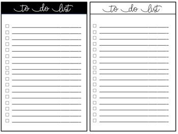 Teacher To Do Checklists - Black and White