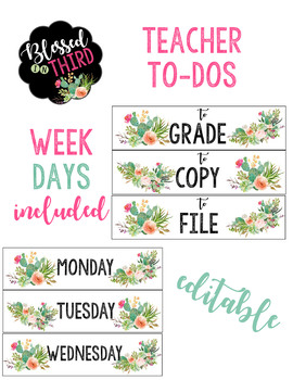 Cactus Teacher To Do Drawer Labels *Editable*