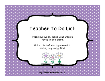 Teacher To Do List